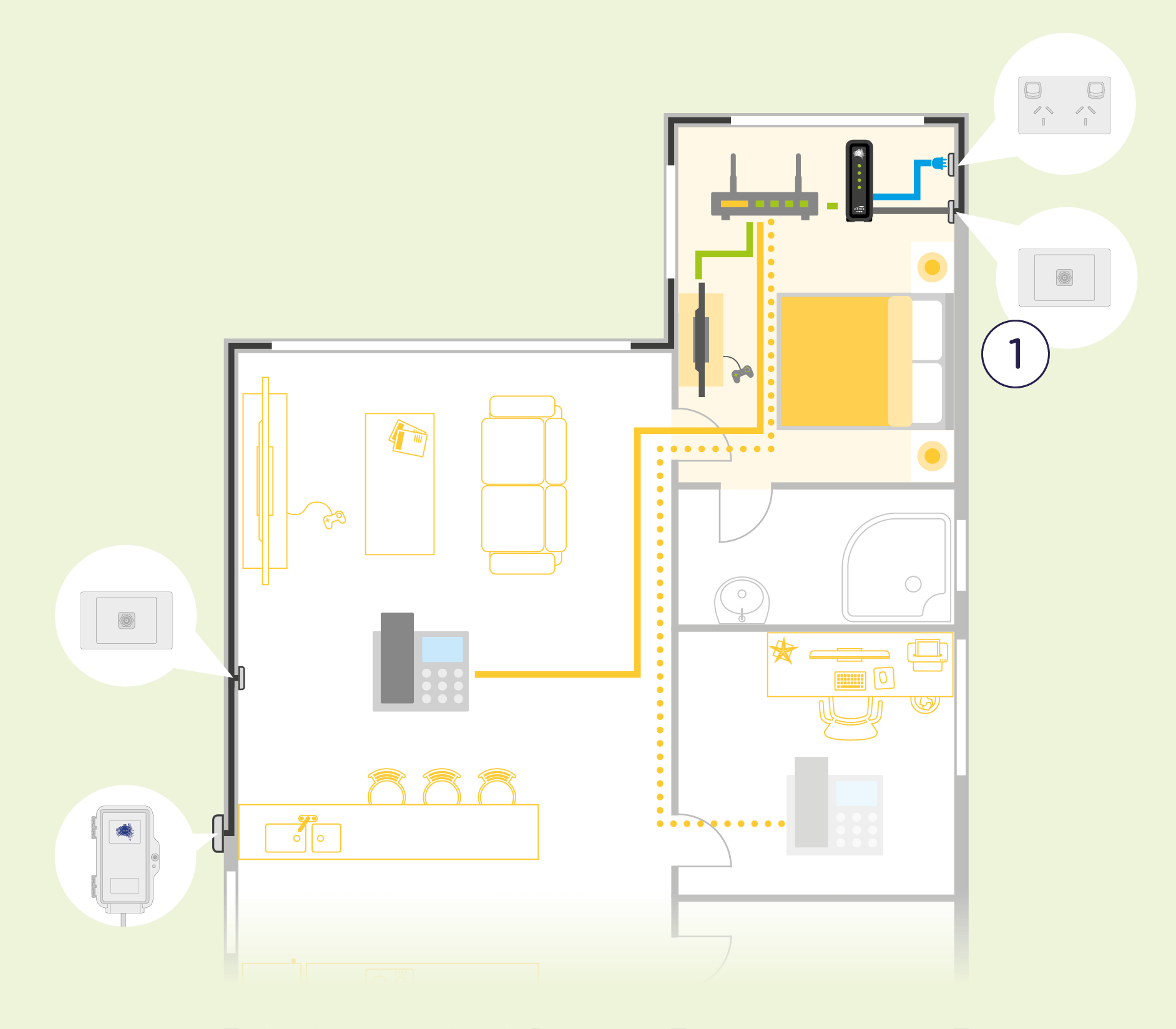 nbn wall outlet positioning